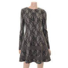 """Plastic Island"" Lace Design Fit and Flare Dress for F w Asian Size ""M"" Charcoal 