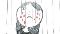A drawing taken by a child held in immigration detention expressing blood red tears...