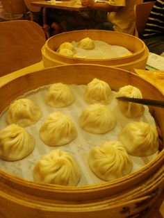 Not my photo, but these are my favorite dumplings.  Xiaolongbao (Steamed Shanghainese soup dumplings) Din Tai Fong Restaurant Taipei. (Sept. 2011) New store in Seattle!