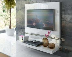Contemporary curved TV unit with lighting in various finishes