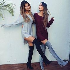 Trendy Long Sleeve Solid Loose Mini Dresses
