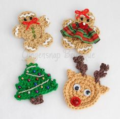 Crochet Christmas Applique Patterns from Gingersnap Boutique. Inspiration.