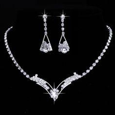 Women Sparkling V Shaped Rhinestone Crystal Necklace Earrings Set Charm Silver Jewelry Wedding Bridal Jewelry Set