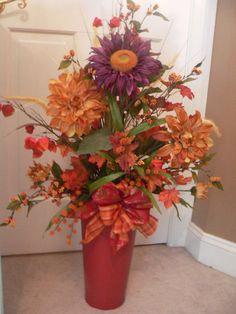 Fall flower arrangement Rustic Red Bucket