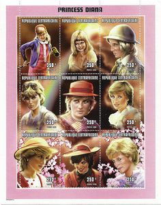 Princess Diana Postal Commemorative Sheet Issued By The Central African Republic, Diana - Princess Of Wales 1961 - 1997.