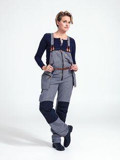 Randig snickarbyxa dam - Flora worker bib pants - striped