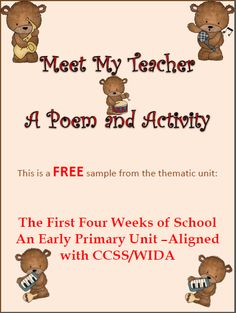 """This product is a sample from the unit """"The First Four Weeks of School"""". An early primary thematic unit which is aligned with CCSS and WIDA. This item is a poem about the school's music teacher and her class. Compatible activities are provided. The entire unit contains 110 slides of school themed poems, activities, art projects, math and literacy activities. A assessment tool is provided that is quick to administer but gives an abundant of information on the academic benchmark for each…"""