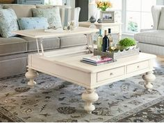 coffee table that lifts up. Love the legs. White. Living Room #coffeetable