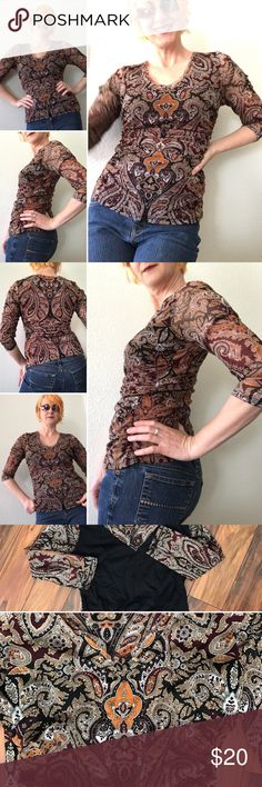 INC international Very cool international blouse great condition maroon tans blacks large. Please see all tags for size, washing instructions and materials. Although the tag says large it fits me snug I'm 5 foot seven and about 130 pounds please see images. INC International Concepts Tops Blouses