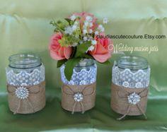 burlap mason jarburlap and lace mason jar by SouthernRusticMomma