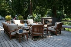 balkonmöbel set lounge möbel kamin holzdielen