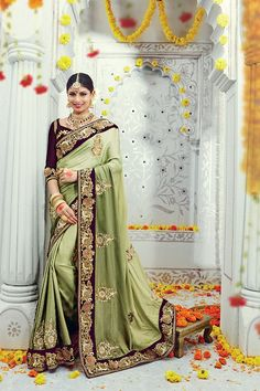 Mehandi Green Color Satin Silk Fabric Designer Saree