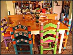 mexican painted kitchen | Marisol, 6 painted chairs and table | Flickr - Photo Sharing!