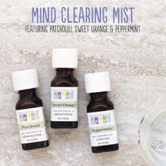 Mind Clearing Mist aromatherapy recipe featuring patchouli, sweet orange and peppermint essential oils