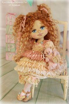 Купить Пироженка . Кукла авторская текстильная art doll - кремовый, розовый, розы, белый, шебби: