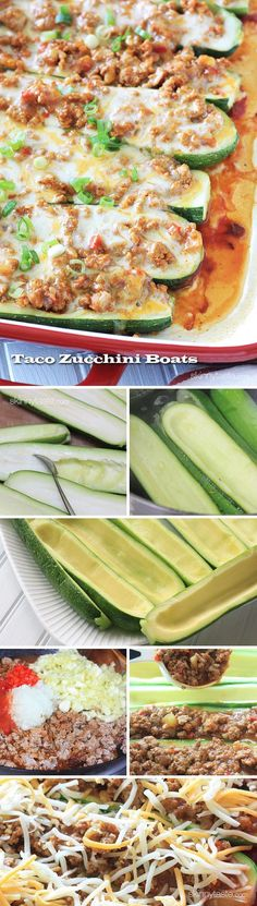 For a summer spin on taco night, try these turkey taco stuffed zucchinis! No cheese
