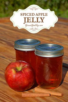 This spiced apple jelly recipe livens up the plain apple flavor with some traditional pairings including lemon juice, cinnamon, cloves, and allspice. The unrefined, rich taste of pure cane sugar combines well with the spices turning a bland jelly into one Do It Yourself Food, Apple Jelly, Apple Jam, Homemade Jelly, Canned Food Storage, Jam And Jelly, Home Canning, Homemade Biscuits, Jelly Recipes