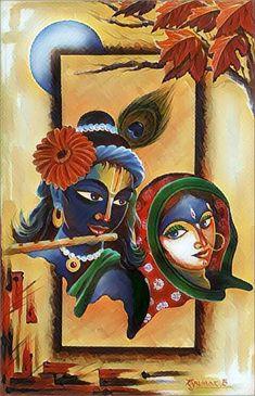 Krishna Painting, Krishna Art, Radhe Krishna, Shree Krishna, Lord Krishna, Madhubani Art, Madhubani Painting, Indian Art Paintings, Modern Art Paintings