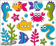 Under The Sea Clip Art, Ocean Digital ClipArt, Bright Cute Fishes, Sea Plants… Art Clipart, Inkscape Tutorials, Sea Plants, Cute Fish, Clip Art, Elements Of Art, Baby Shark, Felt Crafts, Explosion Box