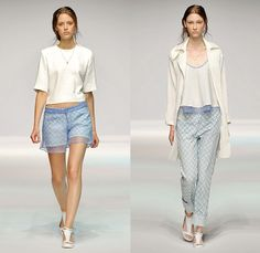 lala Berlin 2015 Spring Summer Womens Runway Catwalk Looks - Denim Jeans Steel Pattern Trucker Jacket Knit Flowers Suit Culottes Mesh Sheer Chiffon Embroidery 3D Embellishments Adornments Outerwear Coat Bejeweled Stripes Pink Sweater Jumper Florals Maxi Dress Noodle Spaghetti Strap Handkerchief Hem Pantsuit Blazer Shorts Cropped Pants