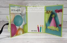 Video tutorial - inside/open view of a tri-fold pocket card can be used as a greeting card or as a mini scrapbook or memory album. Stampin' Up! Picture Perfect Birthday. Spotlight with Lisa Studio Cards, Card Making Supplies, Craft Supplies, Pocket Cards, Tri Fold, Paper Pumpkin, Card Making Techniques, Memory Album, Paper Design