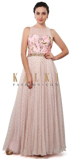 Buy Online from the link below. We ship worldwide (Free Shipping over US$100). Product SKU - 312066. Product Price - $359.00. Product link - http://www.kalkifashion.com/baby-pink-dress-enhanced-in-floral-print-and-sequin-only-on-kalki.html