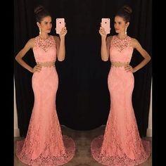 2016 sexy dos piezas encaje sirena noche vestidos de Fiesta Ropa Formal Baile de graduación Vestido