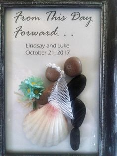 Unique wedding gift bride and groom personalized pebble