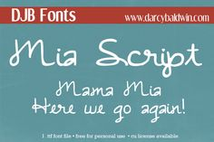 What a cool script font! Available for free personal use at DJB Fonts!