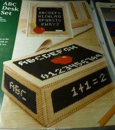 Items similar to Plastic Canvas ABC Desk Set on Etsy Plastic Canvas Tissue Boxes, Plastic Canvas Crafts, Plastic Canvas Patterns, School Pencil Boxes, Desk Set, Canvas Ideas, Charlie Brown, Teacher Gifts, Apples