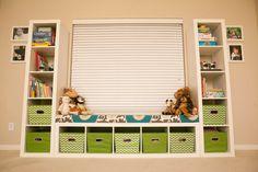 MyBellaBug : Playroom: Seating Bench Part 2, 3 ikea bookshelves make this bench and toy storage