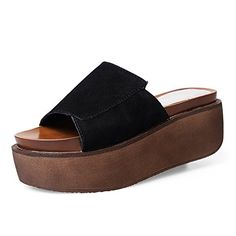 Fashion thick womens slippers Korean leather high heels slippers platform sandals and slippers at the end of the summerSandalB Foot length243CM96Inch ** See this great product.(This is an Amazon affiliate link and I receive a commission for the sales)