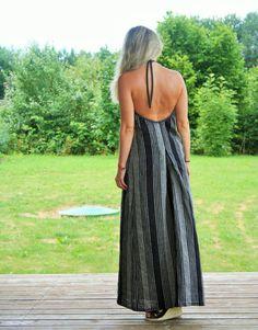 Linen open back dress