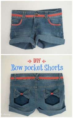 Would be super cute to mix with an American themed pair of shorts Diy Clothing, Clothing Patterns, Sewing Patterns, Shorts Diy, Jeans Refashion, Sewing Pants, Couture Sewing, Old Jeans, Diy Bow