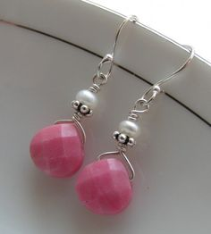 Faceted Rhodonite  Tiny Pearls - the Earrings   miabellacollection-jewelry - Jewelry on ArtFire