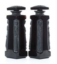 FROM THE ESTATE OF SHIRLEY JACOBS ALTER  R. LALIQUE Pair of 'Ambre' perfume bottles for D'Orsay in black gla