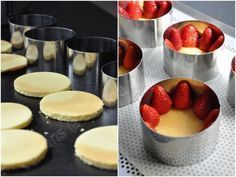 Individual strawberries with mousseline cream - In the kitchen of Audinette- Elegant Desserts, Fancy Desserts, Fancy Cakes, Mini Cakes, No Bake Desserts, Cupcake Cakes, Dessert Recipes, Gourmet Desserts, Individual Cakes