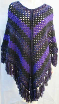 Retro Hand Crafted Purple Black Acrylic Wool Crochet Poncho Cape Hippy NEW 70s