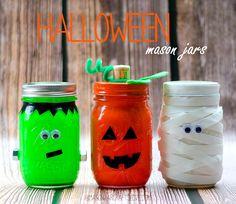 Halloween Craft Ideas: Mason Jar Frankenstein, Pumpkin and Mummy