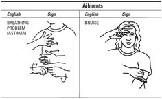 How to Describe Symptoms and Illnesses in American Sign Language - For Dummies Simple Sign Language, Sign Language Chart, Sign Language For Kids, Sign Language Phrases, Sign Language Alphabet, British Sign Language, Learn Sign Language, Foreign Language, Language Lessons