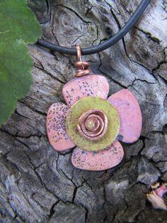 Leopard Pink Copper, Solid Copper, Copper Pendant, Copper Jewelry, Copper Swirl Headpin, OOAK. $32.00, via Etsy.