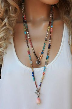 Colorful Gemstone Crochet Long Wrap Necklace ,Boho Chic Jewelry projects unique Your place to buy and sell all things handmade Diy Jewelry Necklace, Boho Jewelry, Gemstone Jewelry, Beaded Jewelry, Fashion Jewelry, Jewellery Box, Chunky Jewelry, Jewellery Shops, Jewelry Stores