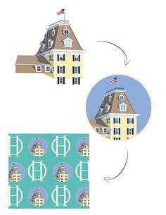 Our custom design for the Ocean House in Watch Hill, RI. The evolution of a print design. Made in #USA tipsyskipper.com