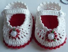 White and red slippers, baby step by step pictures!