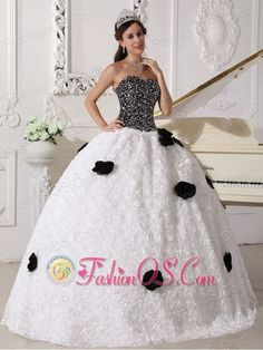 Remarkable White and Black Quinceanera Dress Strapless Special Fabric Sequins and Hand Made Flowers Ball Gown  http://www.fashionos.com  unique quinceanera dress | quinceanera dress on sale | quinceanera dress with sequins | what is a quinceanera | white and black quinceanera dress | special fabric quinceanera dress | where to find a fabulous quinceanera dress | quinceanera dress above 200 | quinceanera dress with special fabric | sequins and hand made flower quinceanera dress |