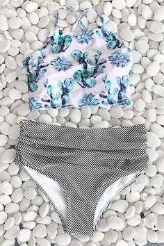 0847c4a440b4c Floralkini Floral Print High Neck Bikini Top X Striped High Waist Bikini  Bottom