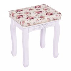 Giantex White Vanity Stool Wood Dressing Stool Padded Chair Makeup Bench Piano Seat With Cushion Vanity Stool, Wood Vanity, White Cushions, Seat Cushions, Dressing Stool, Ottoman, Canapé Angle Convertible, Piano Stool, White Stool