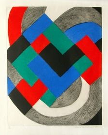 Sonia Delaunay (Ukrainian-French, 1885 – 1979), 'Composition in Red, Green, Blue and Black,' 1968