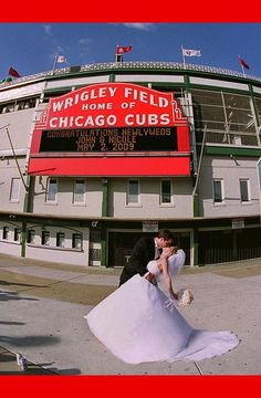 In front of Wrigley Field, home of the Chicago Cubs sports-weddings