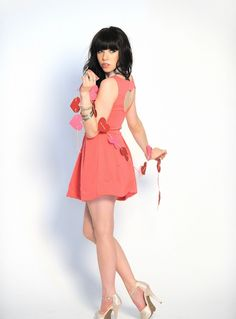 Carly Rae Jepsen for candies heart cutout dress!
